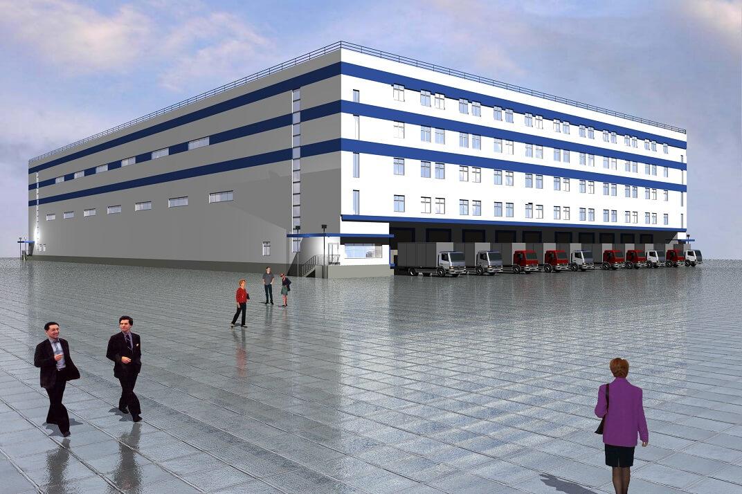 Здание склада с АБК